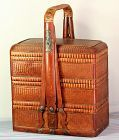 Chinese Bamboo Food Basket with handle, 3 tier