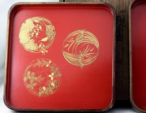 Japanese two(2) red Lacquer Trays in signed wooden box