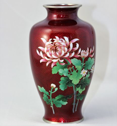 Japanese Red Cloisonne Vase with Silver wire