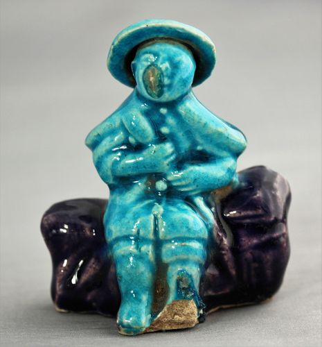 Chinese Pottery Figure, turquoise color man with hat