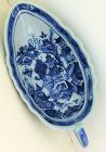 Chinese Export Canton Blue & White Porcelain Sauce Boat