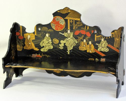 English Paper Mache lacquered Chinoiserie design Shelf