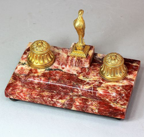 French Marble & Ormolu Desk set with inkwell & Seal