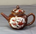Chinese Export Cafe au Lait Porcelain Tea pot, 18th C.