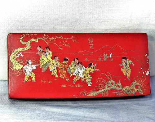 French Paper Mache red Lacquer Pencil Box