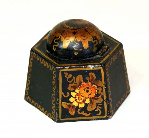 Victorian Tole Inkwell, hexagonal shape & glass insert