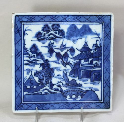 Chinese Export Canton Blue & White Porcelain Trivet