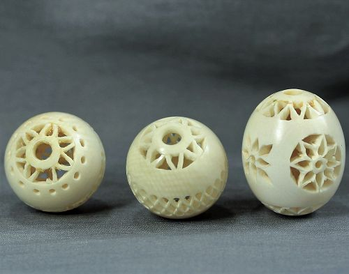 Chinese three(3) carved Ivory Beads