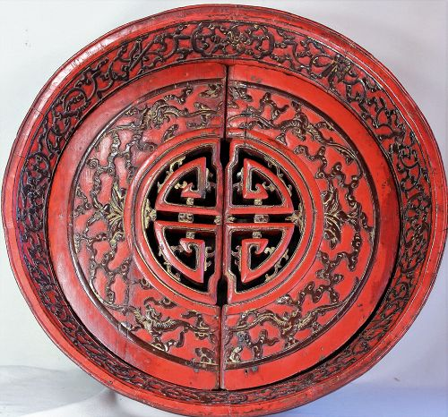 Chinese Bridal red lacquer food storage bowl, 19th C.