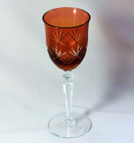 Bohemian Cut Crystal Wine Glass