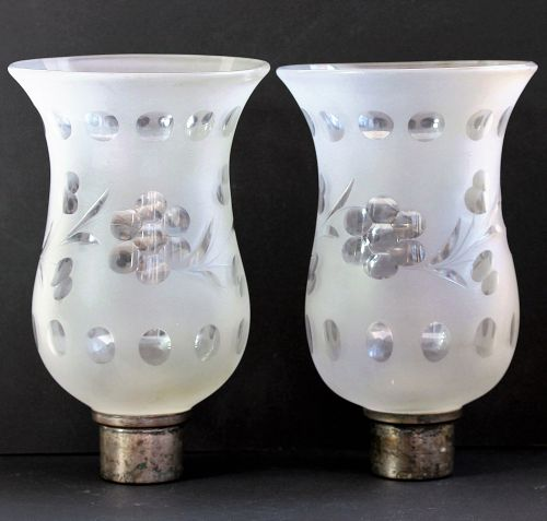 Pair Frosted cut glass Shades
