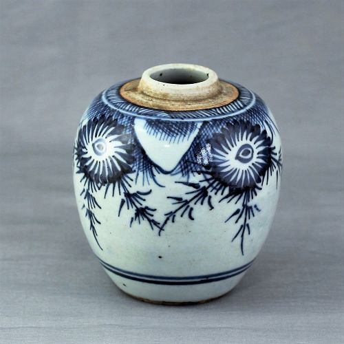 Chinese Blue & White Porcelain Tea Jar/Caddy
