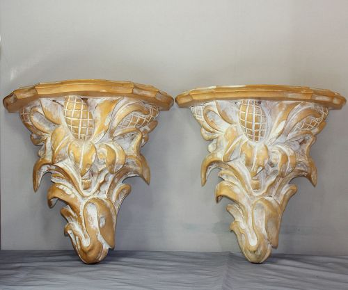 Pair Italian Wood wall Brackets, Display Shelves
