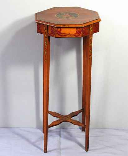 English Satinwood painted small octagonal shape Table