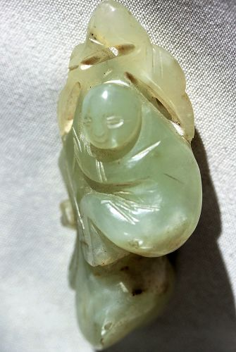 Chinese Nephrite Jade Toggle, boy holding branch