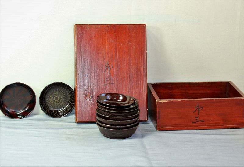 Japanese Lacquer dishes(9) in wooden box with cover