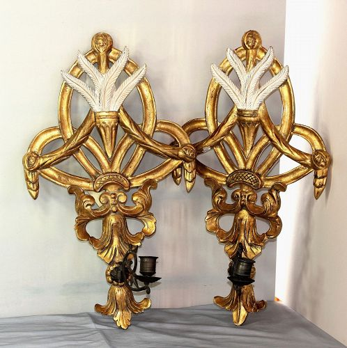 Pair Italian gilded Wood Sconces & Brass Candle holders