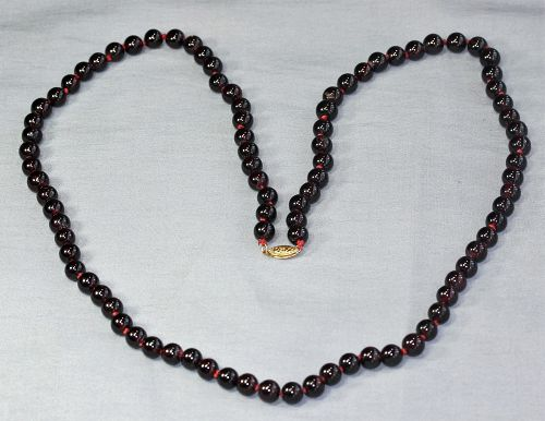 Natural Garnet hard stone Strand necklace