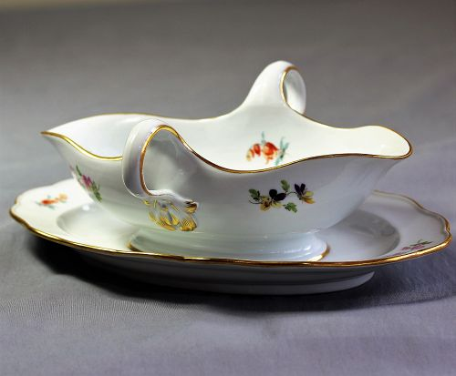 Meissen Porcelain Gravy Boat, cross sword mark
