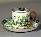 5 English Staffordshire Demitasse Cups & Saucers