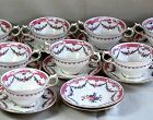 Set of 8 English Crescent Bouillon Soup Cups & Saucers
