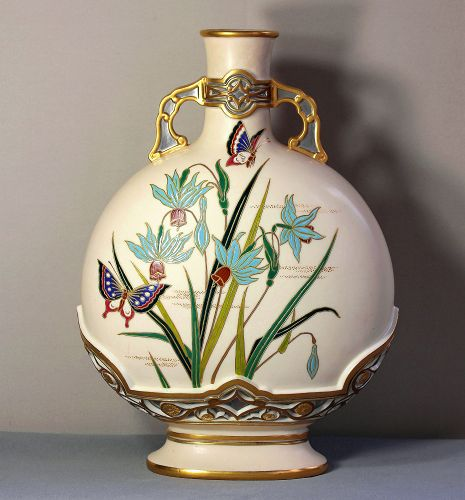 English Worcester Porcelain Large Flask shape Vase
