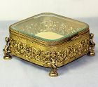 Beveled Glass and gilded Metal framed Jewelry Box