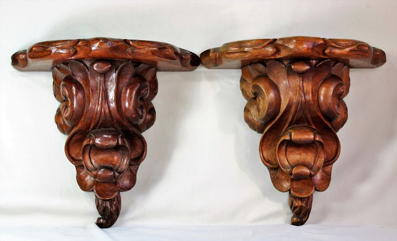 Pr. Rosewood hand carved Wall Bracket, shelves, Stand