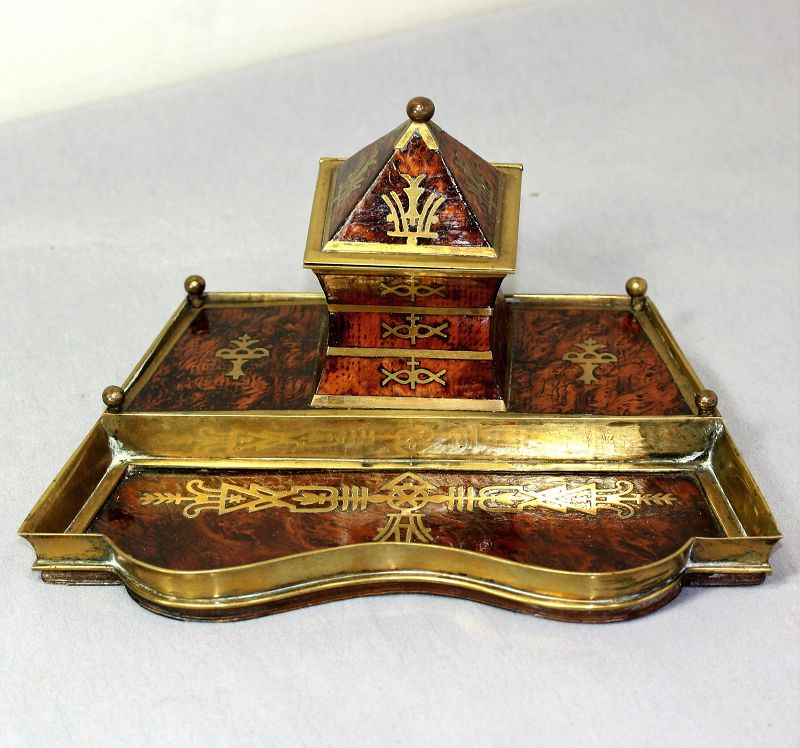 European Art Deco Brass & Burl Walnut inlaid Standish