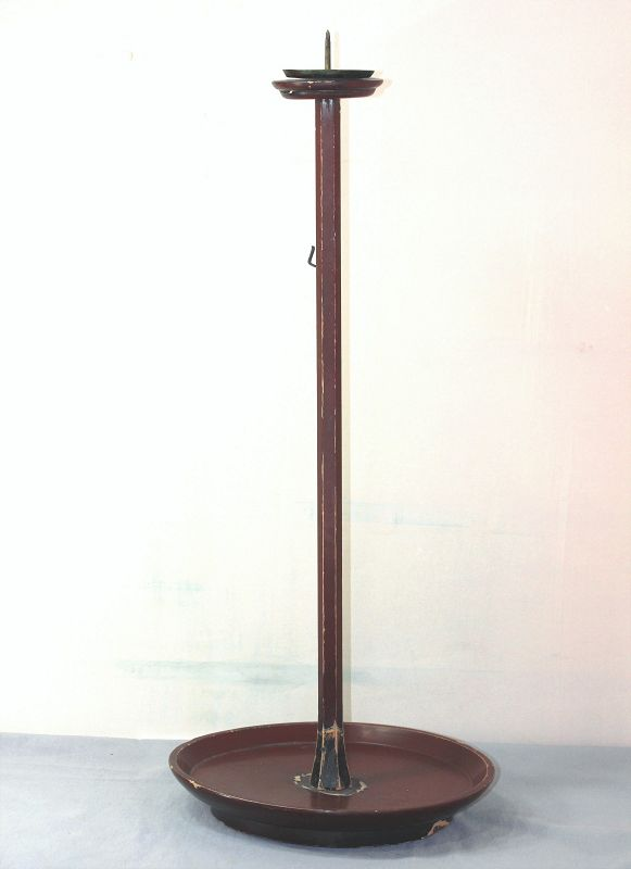 Japanese Lacquer on Wood large Candlestick