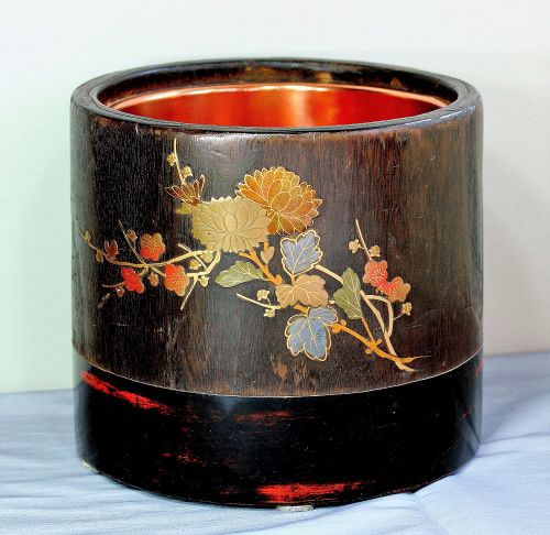 Japanese Lacquer design  Kiri wood Hibachi