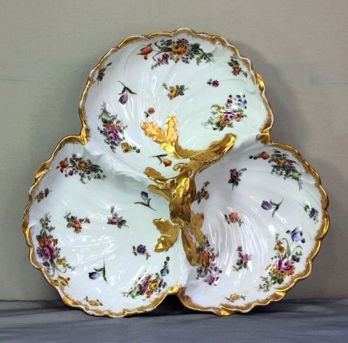 French Limoges Porcelain 3 section Serving Dish