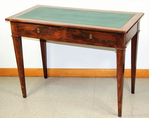 Continental Biedermeier Neo-Classical Writing Table, leather top