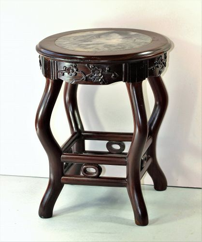 Chinese Hardwood and Natural mottled Marble top round Stool