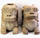 Pair Japanese carved Wood Shrine Guardian Lions