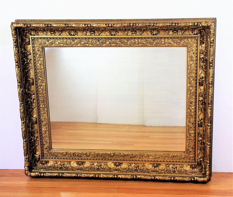 Gilded large Mirror, Rectangle size with Deep carved Gold Frame