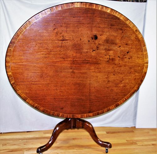 18th C. Irish/English Mahogany Cross Banded tilt top Breakfast Table