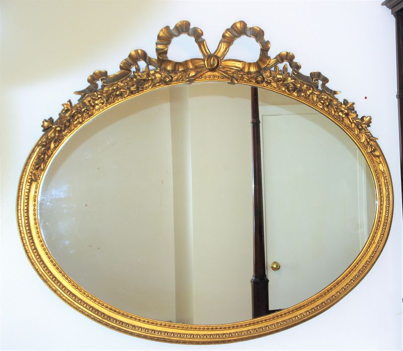 American Gilded Frame large oval shape Mirror, Rose Ribbon on top