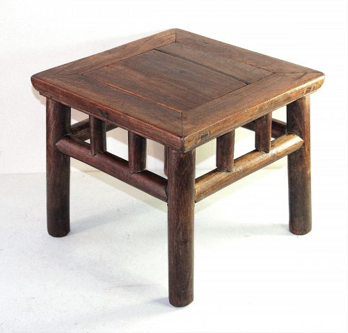 Chinese Elmwood Square Small Low Table