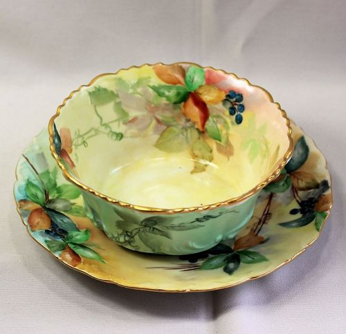 French Limoges Porcelain serving Bowl and matching under plate (item