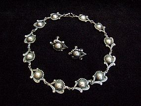 Los Castillo Vintage Mexican Silver Old Necklace & Ears