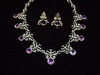 Superb Vintage Mexican Silver Purple Stone Necklace