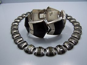 Ledesma Obsidian Vintage Mexican Silver Necklace
