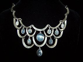 Antonio Pineda Mexican Silver Moonstone Necklace
