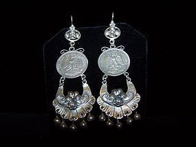 Mazahua Mexican Silver Coin Earrings