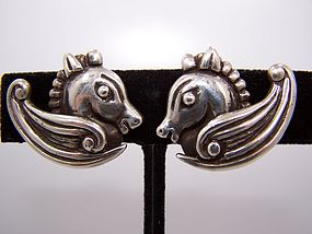 Los Castillo Vintage Mexican Silver Earrings  # 239