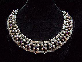 Fred Davis Dsg. Vintage Mexican Silver Floret Necklace