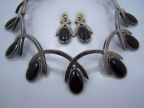 Antonio Pineda Vintage Mexican Silver Necklace & Ears