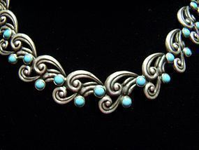 Margot de Taxco Vintage Mexican Silver Necklace # 5113