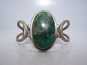 Remy Vintage Mexican Silver Green Stone Bracelet